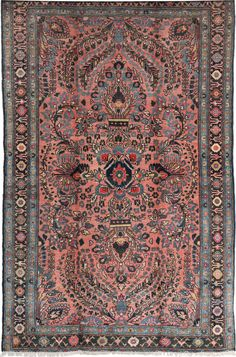 An antique Mohajeran Sarouk carpet (c 1910) now available on @1stdibs with a rich field of red.