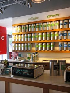 If you aren't much of a tea drinker you might be inclined to think there are just a few basic options to choose from. But you'll be in for an exciting surprise if you stop into David's Tea. Retail Facade, Davids Tea, Room Store, Best Tea, Tea Recipes, Retail Design, Glass Jars, Tea Time, Liquor Cabinet