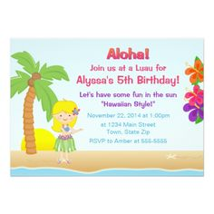Luau Birthday Party Invitations Hula Girl Luau Birthday Party Invitation 5x7 Card