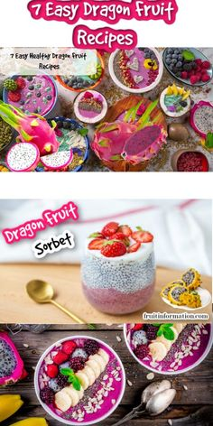 Try our 7 Easy and Healthy Dragon Fruit Recipes.  Many can be made in under 5 minutes with very few ingredients.  Step by step instructions with pictures.  Please Visit Now  #recipe #dragonfruit #fruit #coooking #baking #food #healthy #health