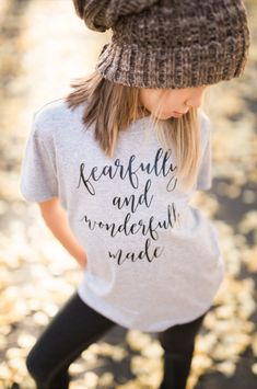 "Fearfully and Wonderfully Made Toddler / Baby Shirt Toddler Graphic Tee This ""Fearfully and Wonderfully Made"" short sleeve toddler t shirt is sure to make any day brighter and have everyone asking you where you got this cute shirt."