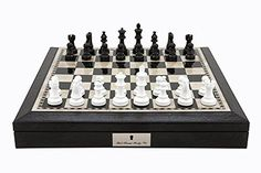 L2203DR Dal Rossi Italy 16 Chess Set Black and White with PU Leather Edge with compartments and Black and White 35 Chess Pieces * Read more reviews of the product by visiting the link on the image.