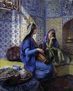 Osmanlı Devleti Musik Musiki. Ottoman Harem Resimleri. Türk Haremleri Ailesi Eşi Valide Sultanı Hanım Sultan Şehzade Haseki Kadın Efendi Gözde İkbal Kadın