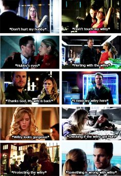 ♥ I think I fall in love with this edit Wifey and hubby ❤ Arrow Funny, Arrow Memes, The Cw Shows, Dc Tv Shows, Dc Comics, Arrow Oliver And Felicity, Arrow Tv Series, Dc Memes, Memes Humor
