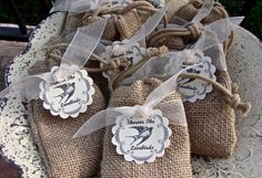 Birdseed Wedding Favors In Natural Burlap Bags by glassactsupply, $70.00