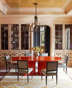 Orange Lacquered dining table - Steven Gambrel Manhattan Home - Manhattan Apartment Design - ELLE DECOR Farmhouse Dining Room Table, Dining Room Table Decor, Dining Room Walls, Dining Room Design, Dining Tables, Living Room Ceiling Wallpaper, Fine Dining, Banquette Table, Dining Furniture