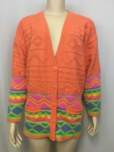 Vintage IB Diffusion Easter Cardigan L Women's Sweater Orange Geometric 1991 #IBDiffusion #Cardigan #SpringEaster