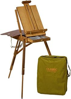Creative Mark Monet Travel French Easel Wood Sketchbox Palette Rolling Wheel