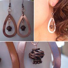 heartsLong copper hoop earrings