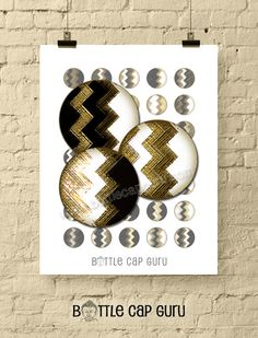 GEOMETRIC ZIGZAGS / Black White & Gold 1 Inch Circle Digital Collage Sheet by BottleCapGuru Bottle Cap Art, Bottle Cap Images, Digital Form, Digital Collage, Digital Image, Birthday Cards For Him, Funny Greeting Cards, Black White Gold, Collage Sheet