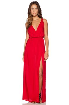 Sexy And Elegant New Arrival Backless Red V Neck Vent Slim Wear Women Dress