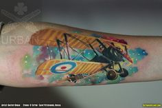 Colorful Camel: Sopwith Camel WWI Biplane Fighter Airplane Tattoo - Tattoos In Flight: Aviation Tattoo Blog - http://www.tattoosinflight.com/2013/10/21/colorful-sopwith-camel-wwi-biplane-fighter-airplane-tattoo-aviation/