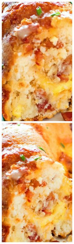 Bundt Pan Bacon Egg and Cheese Brunch Bread ~ Homemade biscuit batter, crispy bacon, scrambled eggs and Borden® Cheese baked to golden perfection in a bundt pan
