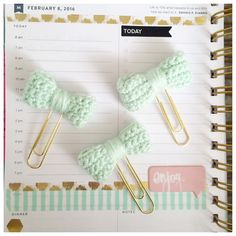 NEW! Added new color  Planner Clips in the color Mint Charm! #planners #plannerclips #paperclips #mintandgold #crochet #crochetbow #planning #organization #diy #crafts