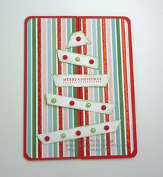 Unusual way to make a tree. Rounded triangle (pennant?) cut into strips. DIY Stampin up Christmas card