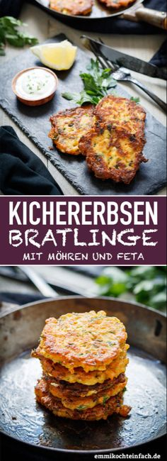 Kichererbsen Bratlinge mit Möhren und Feta – emmikochteinfach Chickpea patties with carrots and feta cheese A delicious and healthy recipe for patties. The vegetarian pancakes are the perfect after-work kitchen and are also a great children's meal Chickpea Patties, Vegan Party Food, Vegetarian Recipes, Healthy Recipes, Vegetarian Pancakes, Empanadas Vegetarian, Chorizo Recipes, Carrot Recipes, Easy Recipes