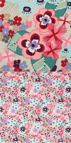 """light taupe fabric with dahlias, flowers in pink, purple, red, grey etc., Material: 100% cotton, Fabric Type: smooth cotton fabric, Pattern Repeat: ca. 60cm (23.6"""") #Cotton #Flower #Leaf #Plants #USAFabrics"""