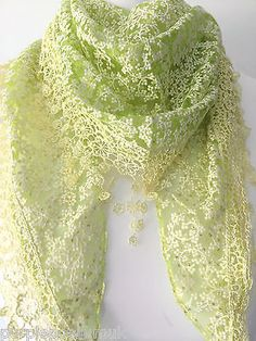 Lacy style triangle scarf in a zingy shade of lime yellow with a little sprinkle of glitter great quality with lovely detail and a tassel trim Sprinkle Of Glitter, Triangle Scarf, Lace Scarf, Summer Scarves, Vintage Fashion, Vintage Style, Scarf Styles, Tassels, Lime