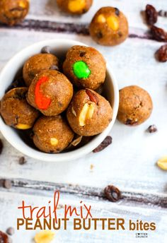 Gluten Free Trail Mix Peanut Butter Protein Bites! These no bake peanut butter bites are super easy to make, packed with protein, healthy fats, and great for snacking at any time!