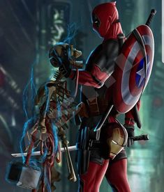 Deadpool is the true OP Who wants him in the avengers storylines? Guardians with Thor would be cool! Marvel Dc Comics, Marvel Funny, Marvel Art, Marvel Heroes, Deadpool Tattoo, Deadpool Art, Deadpool Wallpaper, Avengers Wallpaper, Deadpool Pikachu