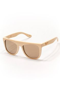 Proof Sunglasses in Bamboo with Tan Lenses.