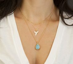 Dainty Gold Shark Tooth Necklace // White Shark by LayeredAndLong