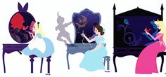 Mickey and Company // Alice in wonderland Wendy Peter Pan neverland Aurora briar rose sleeping beauty Disney ladies Disney princesses and their reflections Walt Disney, Disney Pixar, Disney Fan Art, Disney And Dreamworks, Disney Cartoons, Disney Characters, Disney And More, Disney Love, Pocahontas