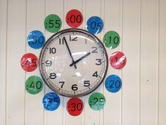 Klokkijken.  De digitale minuten rondom een analoge klok.