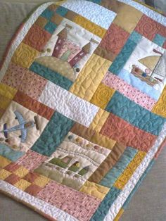 Baby Boy Quilt Patterns, Baby Boy Quilts, Applique Patterns, Baby Memory Quilt, Colchas Quilting, Patchwork Baby, Patchwork Ideas, Nautical Quilt, Cot Quilt