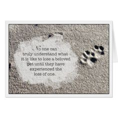 Shop Loss of Pet Cat Sympathy Card Paw Prints in Sand created by LizMountain. Pet Quotes Dog, Pet Loss Quotes, Cat Quotes, Animal Quotes, Dog Grief, Pet Loss Grief, Loss Of Dog, Miss My Dog, Dog Poems