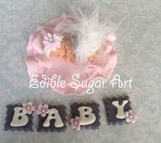 BABY SHOWER CAKE TOPPER FONDANT EDIBLE PINK AND GREY BABY SHOWER THEME BABY GIRL