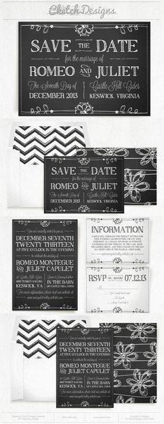 Cute chalk art invitation and save the date.  I love the back patterns on this one.  So cute!  $9.00 - https://www.etsy.com/listing/177735124/diy-printable-word-template-2014-chalk