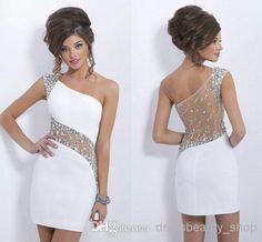 Wholesale Cocktail Dresses - Buy Little White Dresses 2014 Nude Sexy See Through Short Sheath Wedding Evening Cocktail Dresses Stunning Crystals Beaded Beach Party Gowns Ssj, $101.82 | DHgate