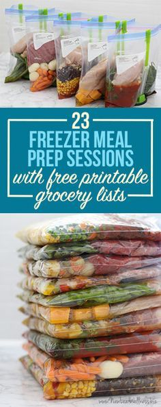 23 Freezer Meal Prep Sessions With Free Printable Grocery Lists. So many healthy and delicious crockpot recipes. Love this.