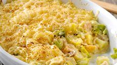 Lekkere ovenschotel met kip, prei en champignon crème. Heerlijk om familie en vrienden mee te verwennen.