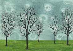 Aceo Original Watercolor Painting MFBart Trees Sky ATC by MFBart, $4.99