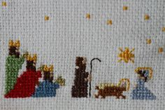 . Nativity Scene. 3 Kings from a 1997 mag. The world of cross stitch - the rest, my design