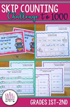 Skip counting activities for first and second graders. Includes anchor posters for skipping forward and backwards and printables to practice skip counting starting with non-landmark numbers.