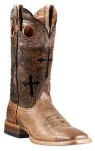 Ariat Ranchero Men's Quicksand Tan w/Crosses on Brown/Black Eclipse Top Double Welt Square Toe Western Boots | Cavender's