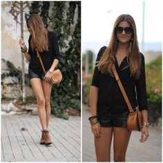 Leather Shorts (by Marianela Yanes) http://lookbook.nu/look/4109582-Leather-Shorts
