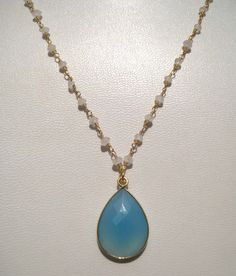 24kt. Gold Plated Rainbow Moonstone Beads Necklace by finegemstone, $30.00