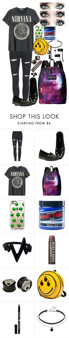 """""""Depression"""" by hold-on-til-may ❤ liked on Polyvore featuring H&M, JanSport, Casetify, Manic Panic NYC, Burt's Bees, Anna Sui and Vans"""