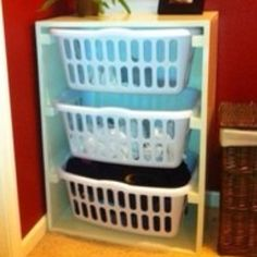 Built in storage for laundry area.
