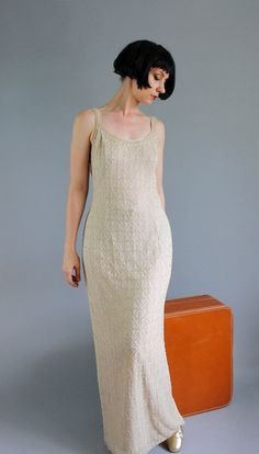 Beige Beaded Gown. Great Gatsby Dress. Flapper by gogovintage, $54.00