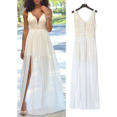 Choies White Plunge Sheer Tulle Panel Lace Backless Prom Dress ($23) ❤ liked on Polyvore featuring dresses, white, lace dress, white lace cocktail dress, white dress, prom dresses and see through dress