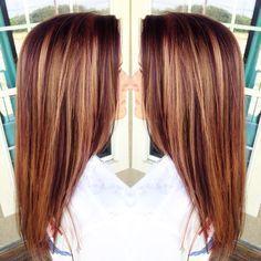"""""""Caramel & Auburn Lowlights for this Beauty #hairbyroxxaayyy #hair…"""