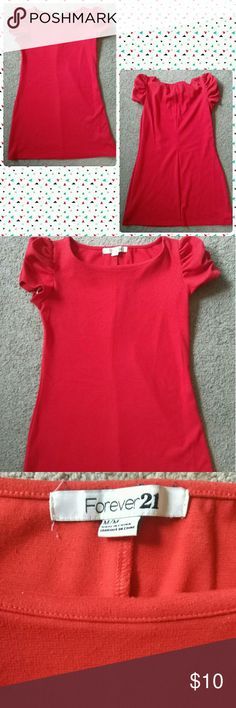 ?? Forever 21 Red Short Sleeve Mini Dress ?? Gently used, good condition. Can be used as tunic or short dress Forever 21 Dresses Mini