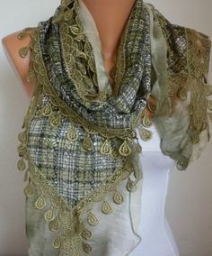 ON SALE - Olive Green Plaid Scarf Sequin Flowers Scarf -  scarf shawl - Green - fatwoman on Etsy, $20.70