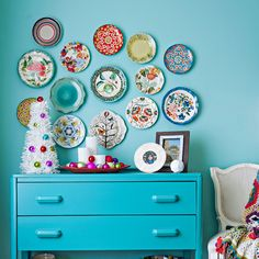 Two-drawer chest painted blue with plates - info on paint colors in article
