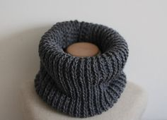Charcoal grey cowl scarf vegan infinity scarf by FawnAndFolly